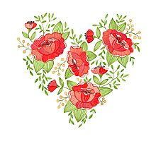 Rose Heart watercolor Photographic Print