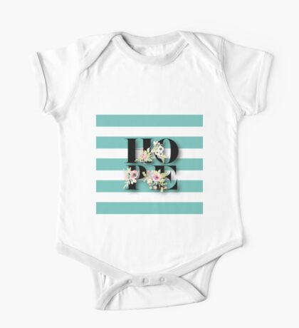 HOPE.typography,cool text,teal,white,stripes,modern,trendy,pretty,girly,floral,hand painted One Piece - Short Sleeve