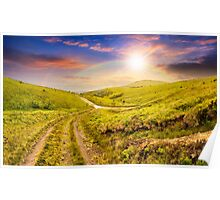 path through highland meadows at sunset Poster