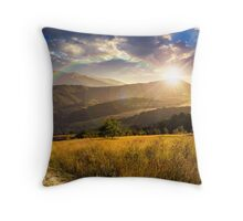 path on hillside meadow in mountain at sunset Throw Pillow