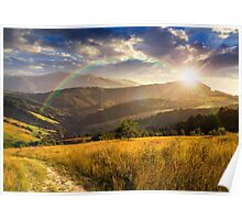 path on hillside meadow in mountain at sunset Poster
