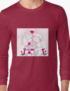 male and female lovers kissing on a bench Long Sleeve T-Shirt