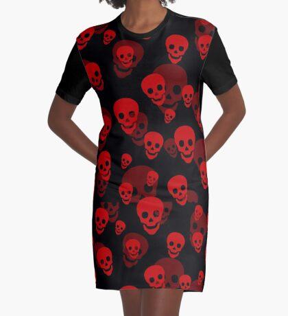 Red Skull Pattern Graphic T-Shirt Dress