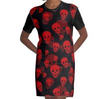 Red Skull Pattern Graphic T-Shirt Dress