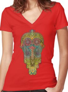 Hamsa/Protection Women's Fitted V-Neck T-Shirt