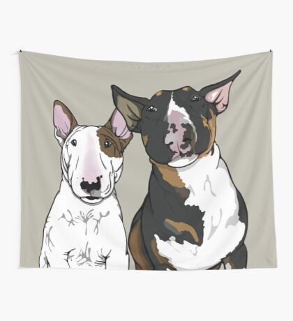 Freddie and Lola English Bull Terrier's  Wall Tapestry