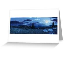 boulders on hillside meadow in mountain at night Greeting Card
