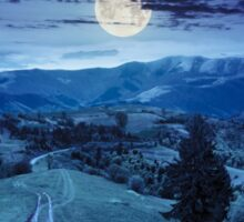 road through the meadow on hillside at night Sticker