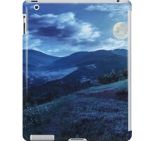 flowers on hillside meadow in mountain at night iPad Case/Skin