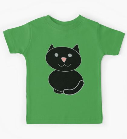 Black Kawaii Cat  Kids Clothes