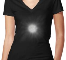 Full moon with glowing halo art design Women's Fitted V-Neck T-Shirt