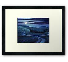path through highland meadows at night Framed Print