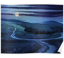 path through highland meadows at night Poster