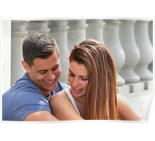 Young Couple Bridge Poster