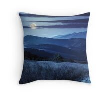 path on hillside meadow in mountain at night Throw Pillow