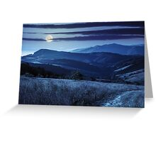 path on hillside meadow in mountain at night Greeting Card