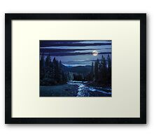 Mountain river in pine forest at night Framed Print