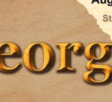 Aged Georgia State Pride Map Silhouette  Sticker