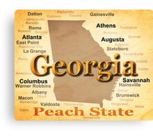 Aged Georgia State Pride Map Silhouette  Canvas Print