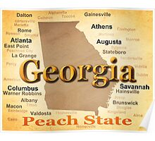 Aged Georgia State Pride Map Silhouette  Poster