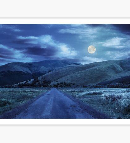 abandoned road through meadows in mountain at night Sticker