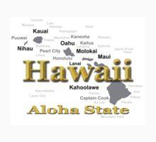 Hawaii State Pride Map Silhouette  Kids Tee