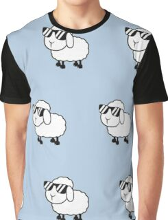 Cool sheep in sunglasses,baby blue background,kid,kids,cute,sheets,sheep,sunglasses, Graphic T-Shirt