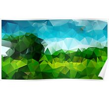 Countryside Green Fields - Crystallized Art Effect Poster