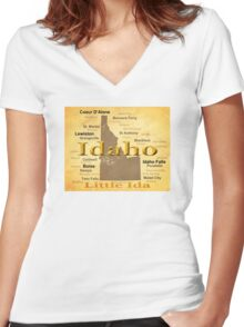 Aged Idaho State Pride Map Women's Fitted V-Neck T-Shirt