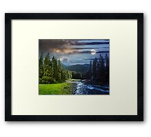 Mountain river in pine forest day and night Framed Print