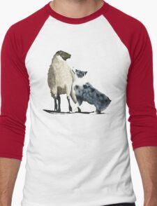 "Australian Shepherd ~ ""One Tough Sheepdog"" painting Men's Baseball ¾ T-Shirt"