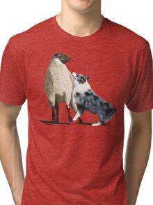 "Australian Shepherd ~ ""One Tough Sheepdog"" painting Tri-blend T-Shirt"