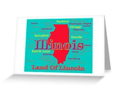 Colorful Illinois State Pride Map Greeting Card