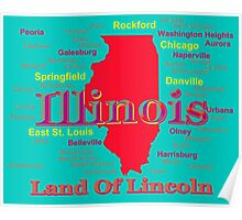 Colorful Illinois State Pride Map Poster