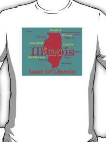Colorful Illinois State Pride Map T-Shirt