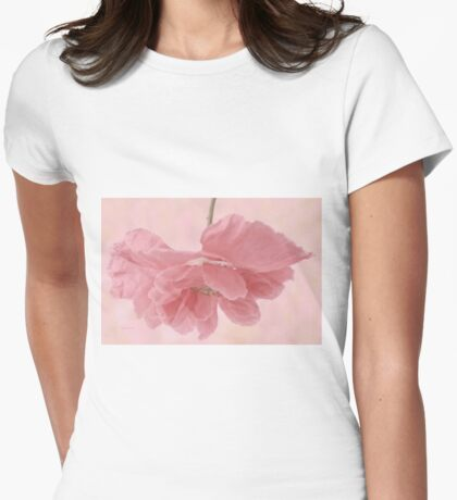 Pretty Pink Poppy Macro Womens Fitted T-Shirt