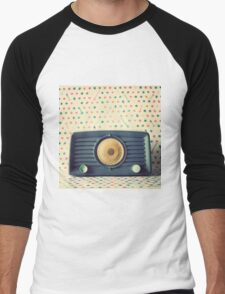 Retro,vintage,radio,original,old, fashioned,digital photo Men's Baseball ¾ T-Shirt