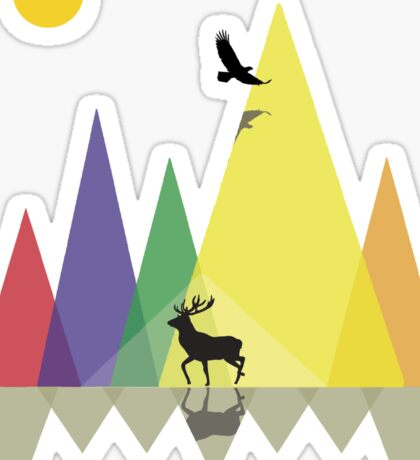 Wild Mountains Landscape Geometric  Sticker