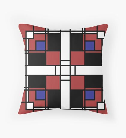 Neoplasticism symmetrical pattern in Well Read (red) Throw Pillow