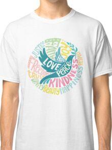 Dove of Peace Lettering Design Classic T-Shirt
