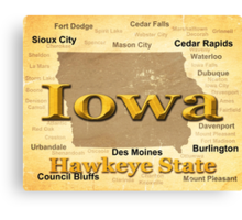 Aged Iowa State Pride Map Silhouette  Canvas Print