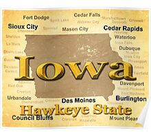 Aged Iowa State Pride Map Silhouette  Poster