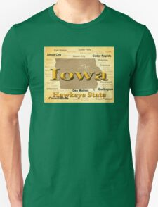 Aged Iowa State Pride Map Silhouette  T-Shirt