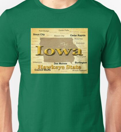 Aged Iowa State Pride Map Silhouette  Unisex T-Shirt