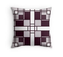 Neoplasticism symmetrical pattern in pinkish gray grey Throw Pillow