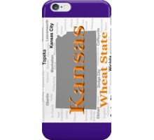 Kansas State Pride Map Silhouette  iPhone Case/Skin