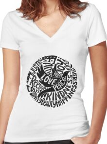 Dove of Peace Lettering Design in Black and White Women's Fitted V-Neck T-Shirt