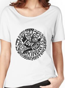 Dove of Peace Lettering Design in Black and White Women's Relaxed Fit T-Shirt