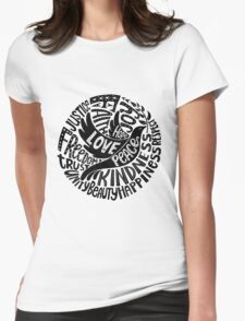 Dove of Peace Lettering Design in Black and White Womens Fitted T-Shirt