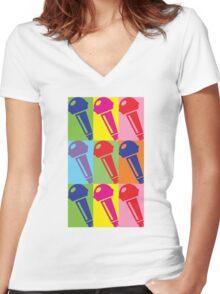 Pop Art Microphone Women's Fitted V-Neck T-Shirt